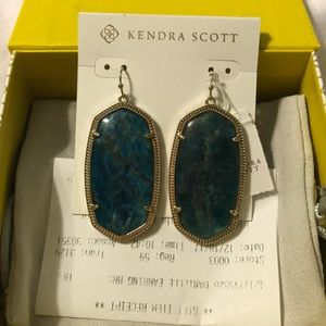 Kendra Scott Aqua Apatite Gold Danielle Earrings